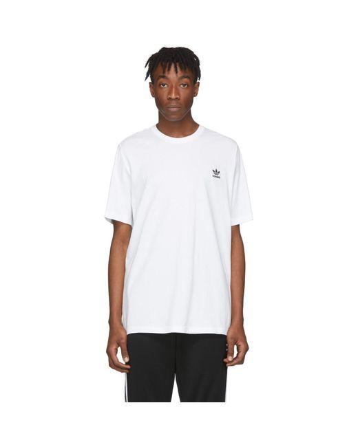 メンズ Adidas Originals ホワイト トレフォイル T シャツ White