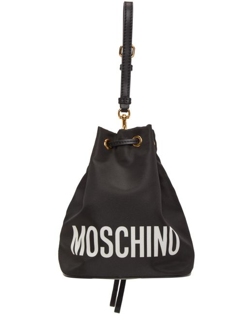 Moschino ブラック Italian Teddy Bucket ポーチ Black