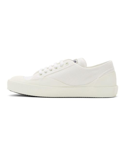 Lanvin White Corduroy Low-Top Sneakers 1JNU2