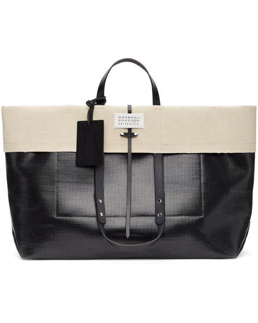 メンズ Maison Margiela ブラック & ベージュ ラージ ショッピング トート Black