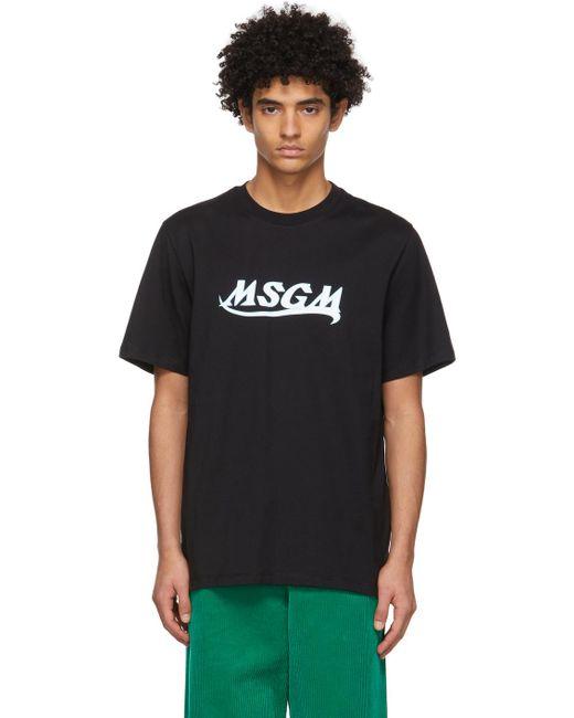 メンズ MSGM ブラック ロゴ T シャツ Black