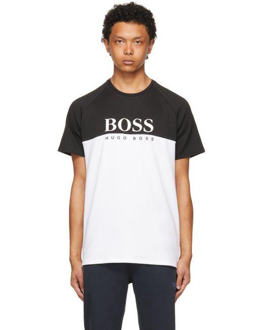 メンズ BOSS by Hugo Boss ブラック & ホワイト T シャツ Black