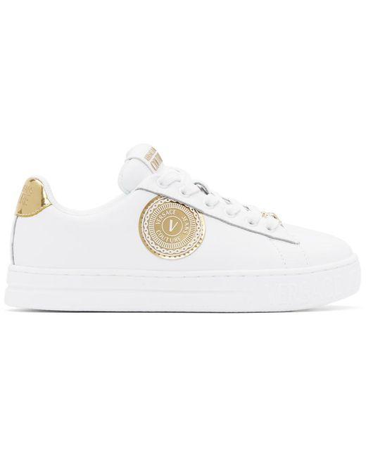 Versace Jeans ホワイト & ゴールド 88 V-emblem Court スニーカー White