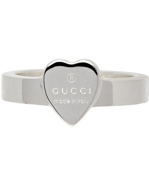 Gucci シルバー Heart リング Metallic