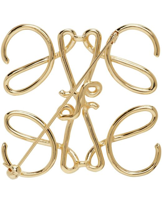 Loewe Metallic Gold Anagram Brooch for men