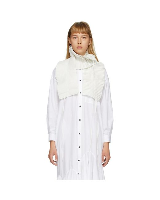Enfold オフホワイト シャンブレー タフタ プリーツ スカーフ White
