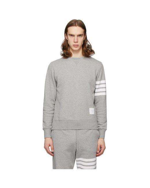 メンズ Thom Browne グレー 4bar クラシック スウェットシャツ Gray