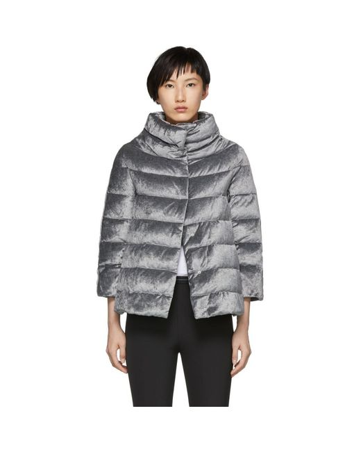 Herno - Gray Silver Down Shimmering Cape Jacket - Lyst