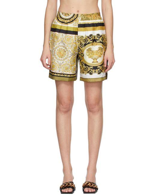 Versace ホワイト & イエロー Barocco Mosaic ショーツ Yellow
