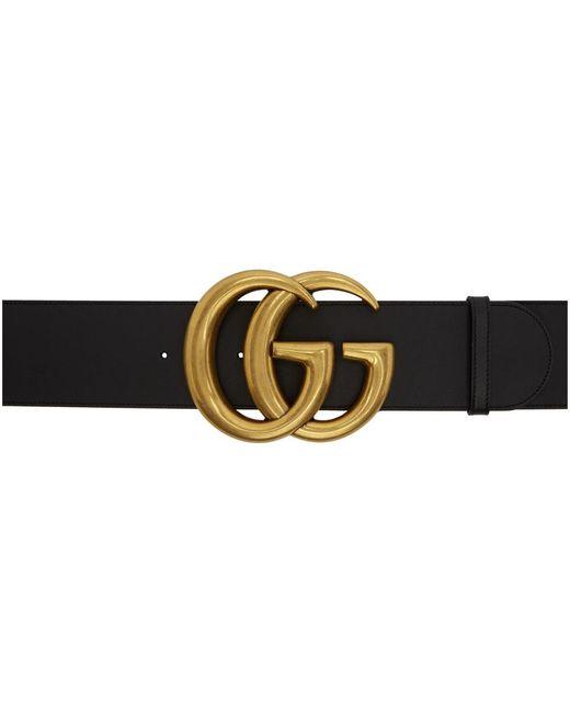 Gucci ブラック レザー GG ワイド ベルト Black