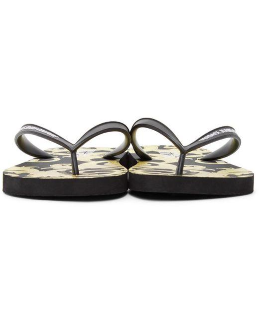 メンズ Versace Jeans ブラック & ゴールド Baroque ロゴ ビーチ サンダル Black