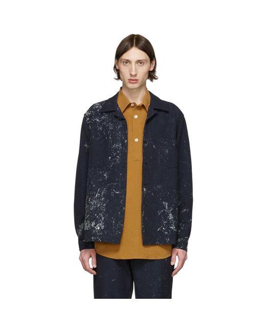 メンズ Schnayderman's ネイビー ペイント ボクシー オーバーシャツ ジャケット Blue