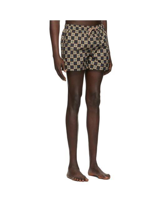 メンズ Burberry ベージュ And ブラック チェック Greenford スイム ショーツ Multicolor