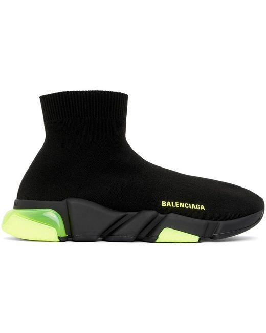 メンズ Balenciaga ブラック & グリーン Speed Clear Sole スニーカー Black