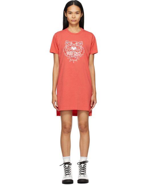 KENZO オレンジ クラシック Tiger T シャツ ドレス Red