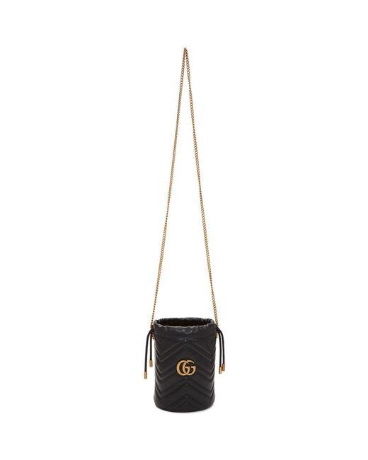 Gucci ブラック ミニ GG マーモント 2.0 バケット バッグ Black