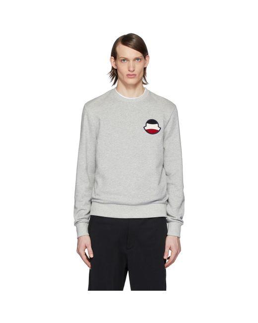メンズ Moncler グレー ロゴ スウェットシャツ Gray
