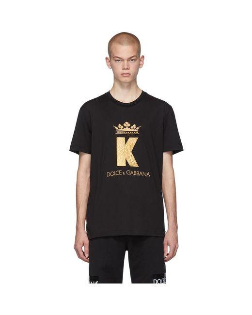 メンズ Dolce & Gabbana ブラック King パッチ T シャツ Black
