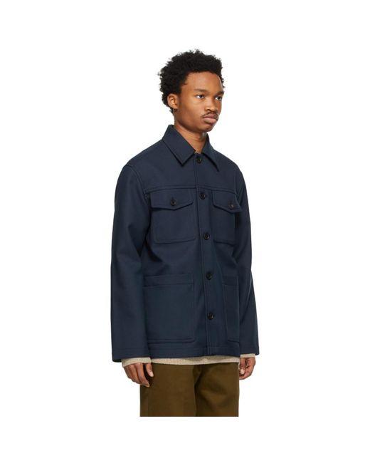 メンズ Acne ネイビー シャツ ジャケット Blue