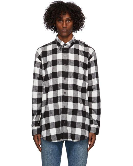 メンズ Balenciaga ブラック & ホワイト フランネル タブ ロゴ シャツ Black