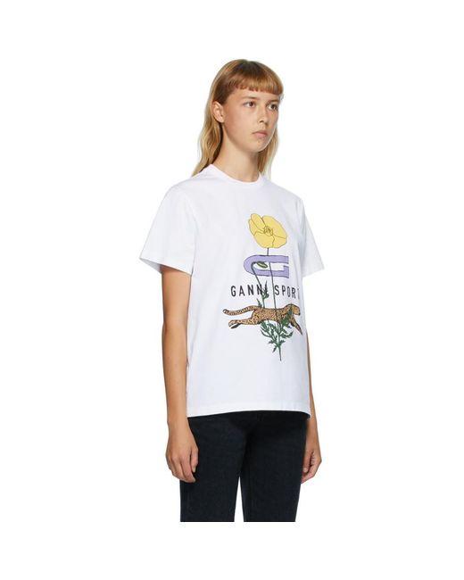 Ganni ホワイト Cheetah Flower T シャツ White