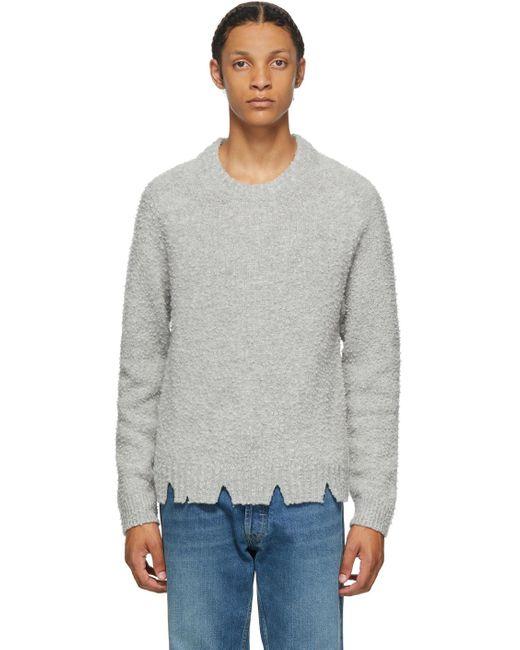 メンズ Maison Margiela グレー ウール オーバーサイズ デストロイ セーター Gray