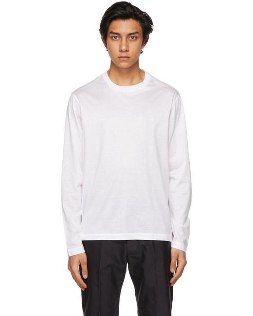 メンズ Brioni ホワイト ロゴ ロング スリーブ T シャツ White