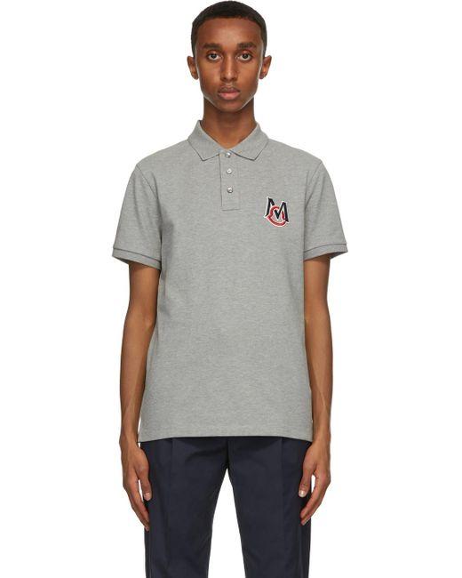 メンズ Moncler グレー ロゴ ポロシャツ Gray
