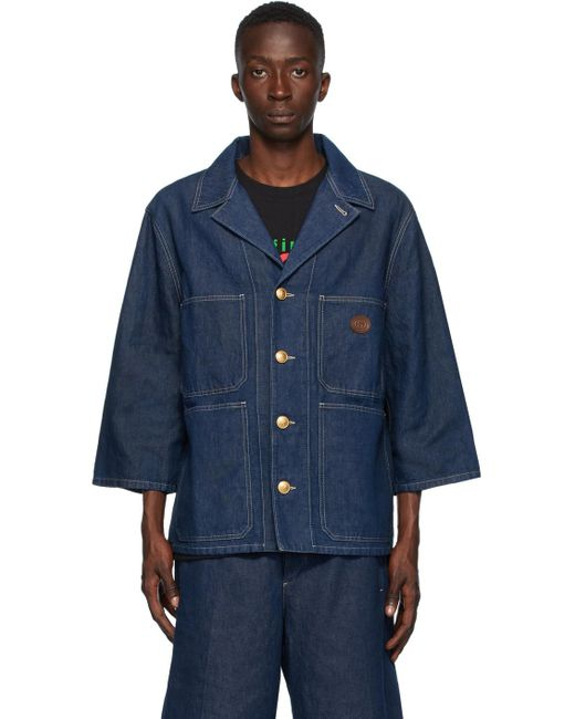 メンズ Gucci ブルー デニム ストーン ウォッシュ ジャケット Blue