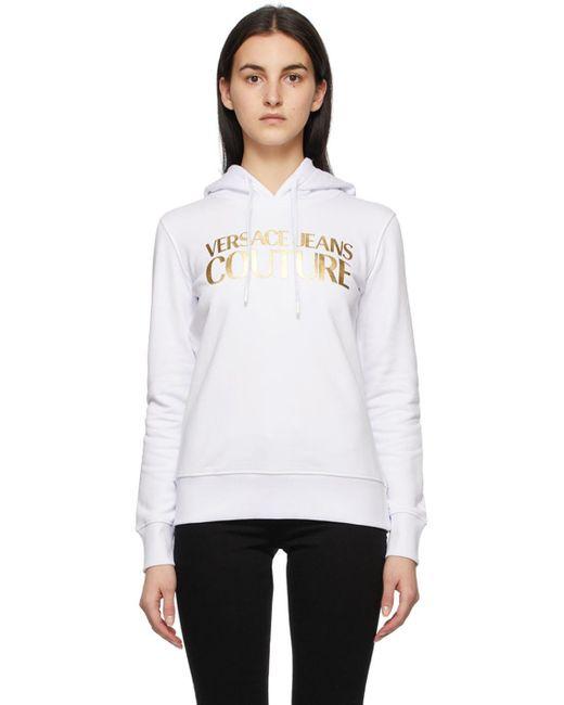 Versace Jeans ホワイト & ゴールド ロゴ フーディ White