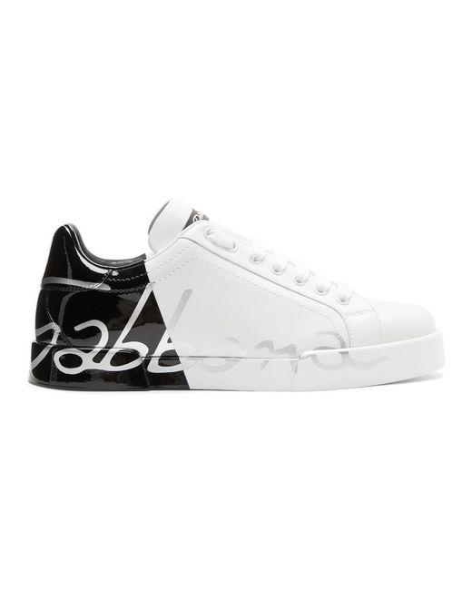メンズ Dolce & Gabbana ホワイト パテント トリム ポルトフィーノ スニーカー White