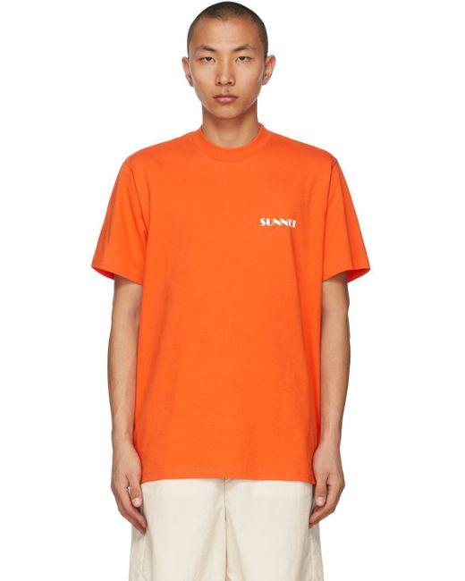 メンズ Sunnei オレンジ & ホワイト ロゴ T シャツ Orange