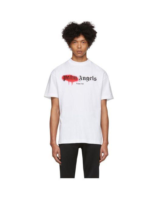 メンズ Palm Angels ホワイト Tokyo スプレー T シャツ White