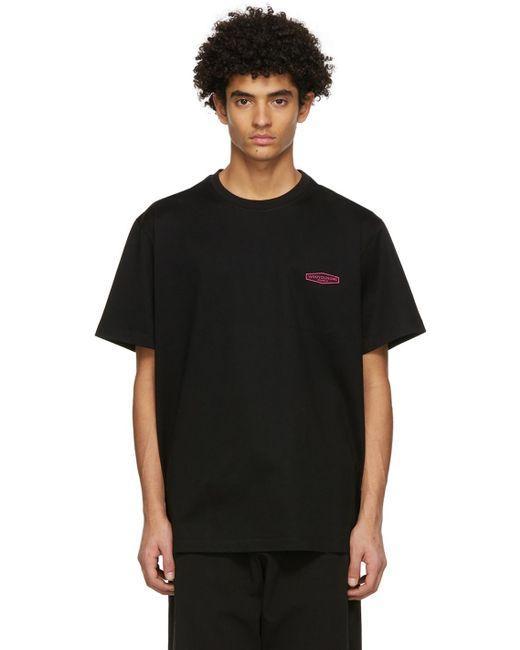 メンズ Wooyoungmi ブラック & ピンク ロゴ パッチ T シャツ Black