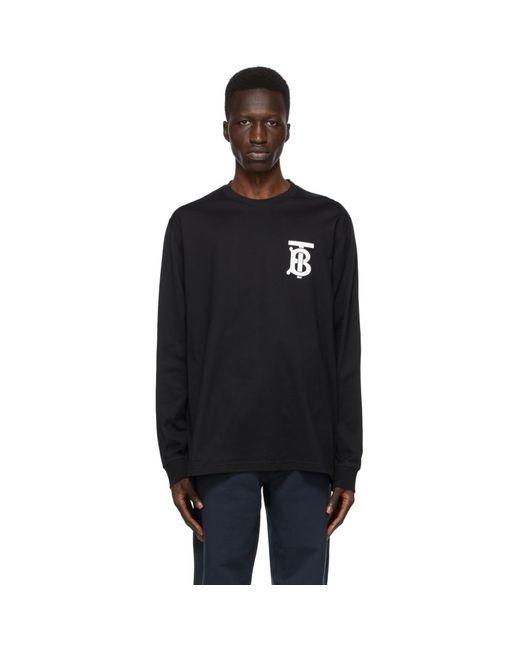 メンズ Burberry ブラック Tb モノグラム Atherton ロング スリーブ T シャツ Black