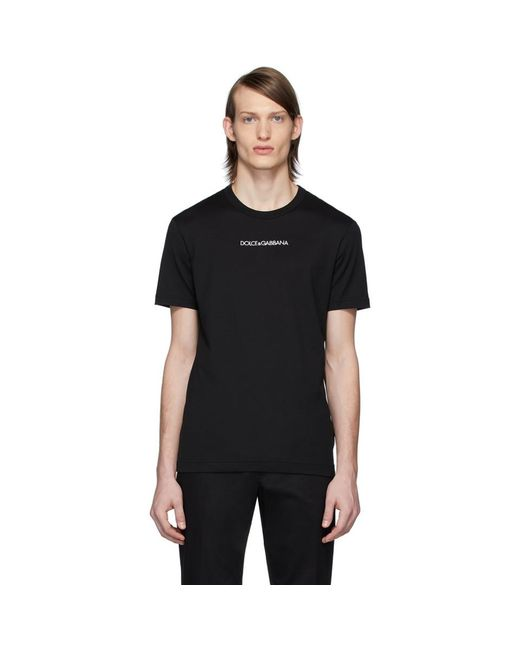 Dolce & Gabbana Black Printed Cotton T-shirt With Embroidery for men