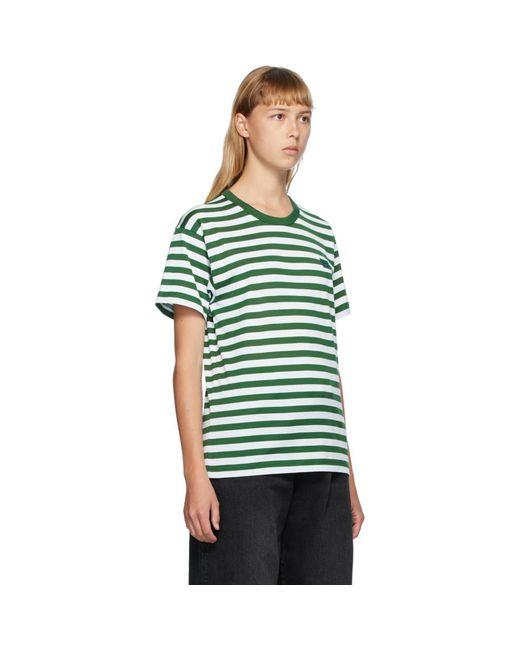 Acne グリーン And ホワイト クラシック フィット ストライプ T シャツ Green