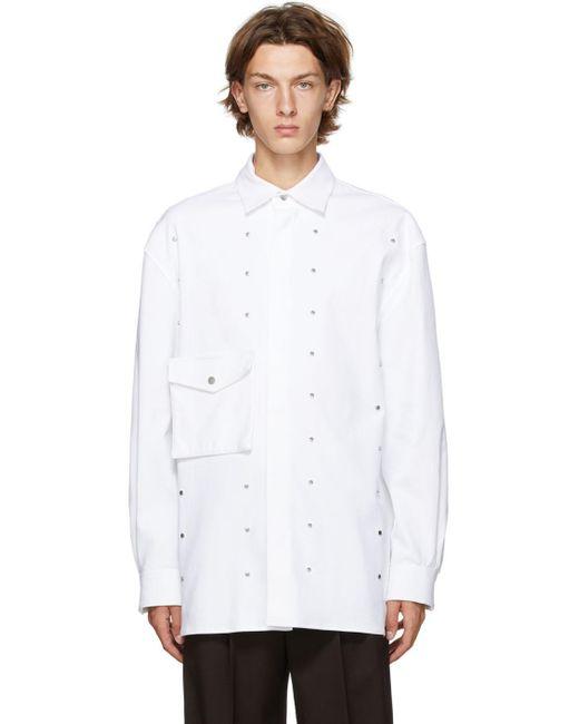 メンズ Bottega Veneta ホワイト ギャバジン スタッド シャツ White
