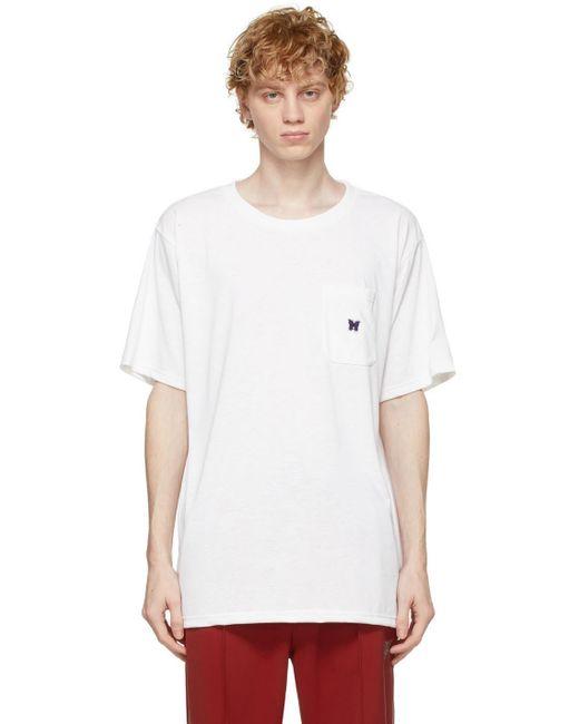 メンズ Needles ホワイト ロゴ T シャツ White