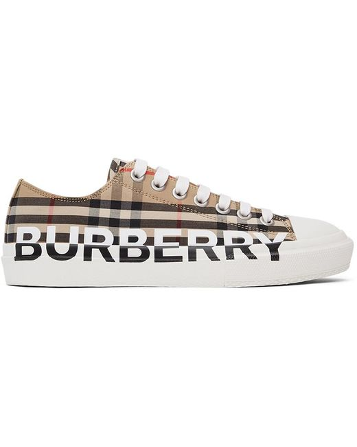 Burberry Multicolor Beige Check Logo Larkhall Sneakers for men