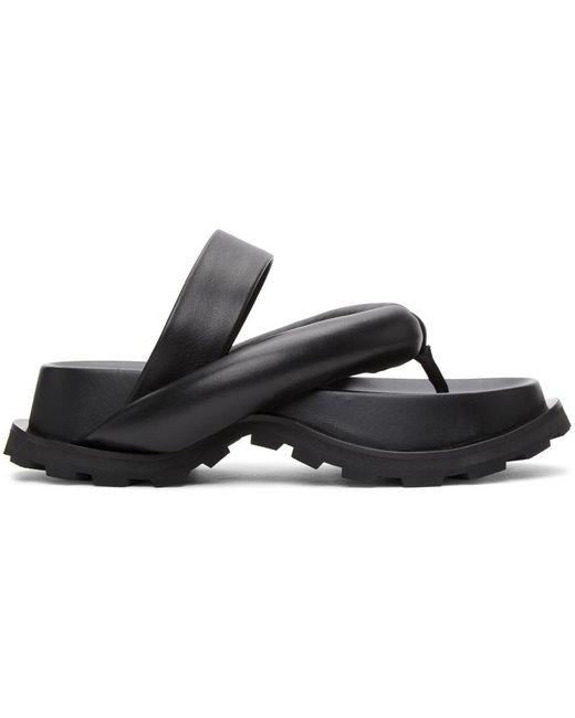 Jil Sander ブラック オーバーサイズ ストラップ サンダル Black