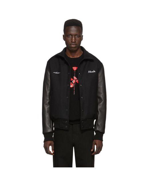 メンズ Noah NYC Depeche Mode コレクション ブラック Violator ローズ ボンバー ジャケット Black