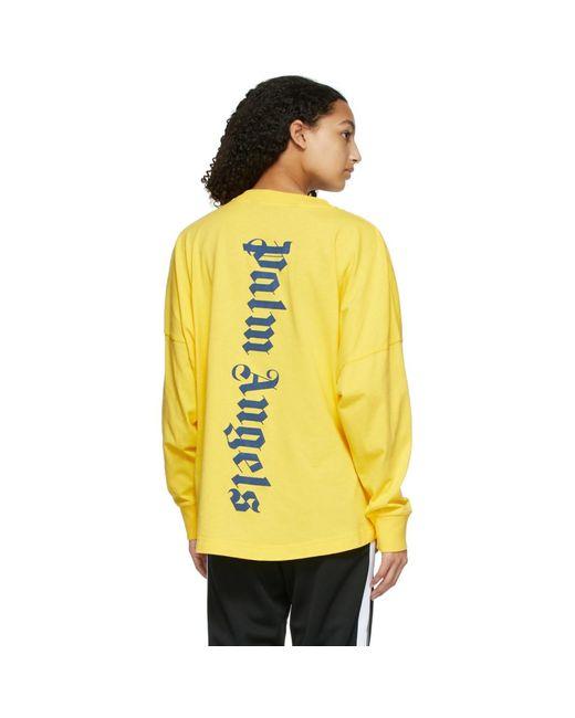 Palm Angels イエロー Ns ロゴ ロング スリーブ T シャツ Yellow