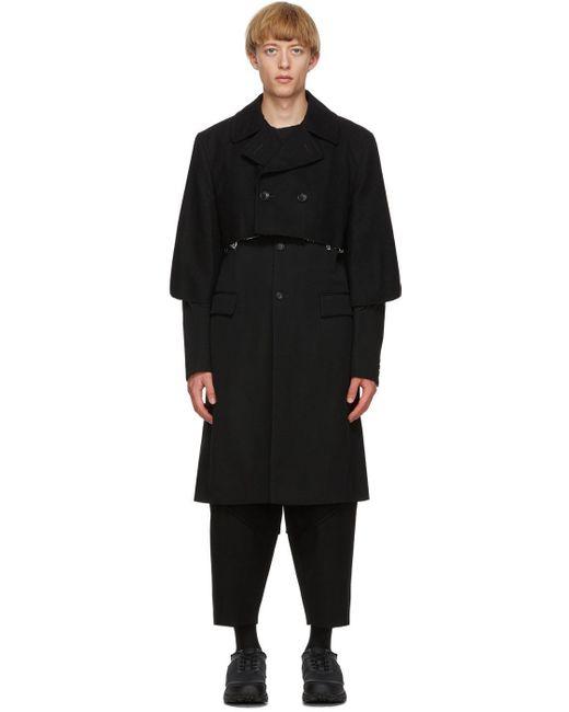 メンズ Comme des Garçons ブラック ウール ギャバジン レイヤード コート Black