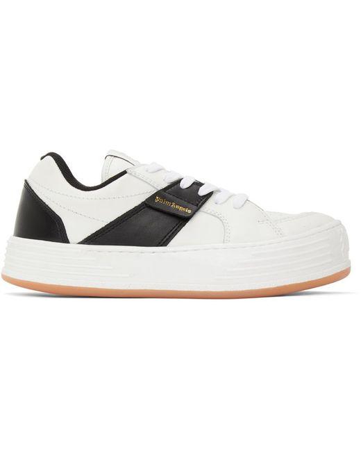 Palm Angels White & Black Logo Sneakers for men