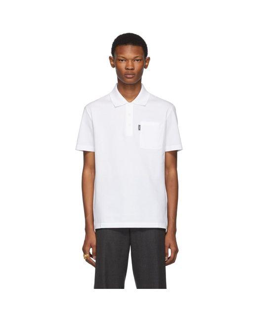 メンズ Versace ホワイト チェスト ポケット ポロ White