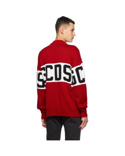 メンズ Gcds レッド And ホワイト ロゴ セーター Red