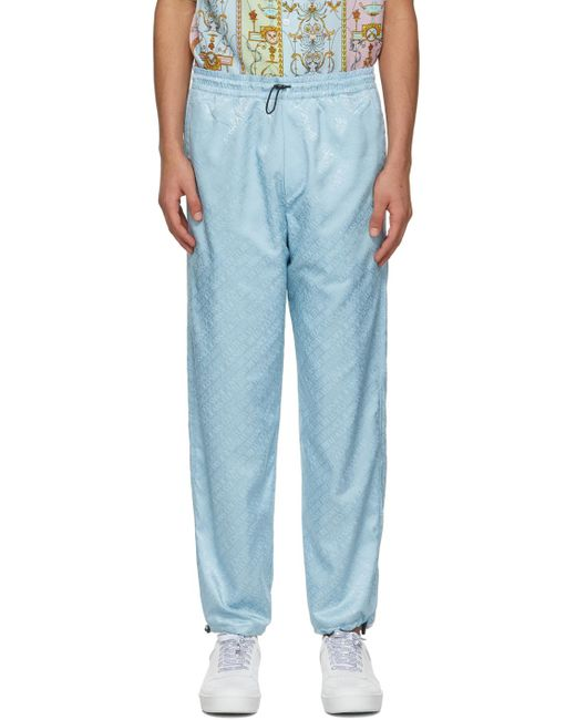 メンズ Versace Jeans ブルー Jacquard ロゴ ラウンジ パンツ Blue