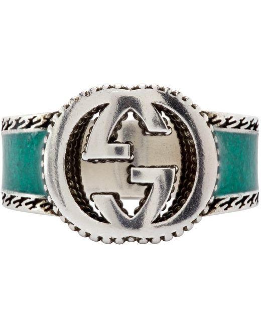 Gucci グリーン Interlocking G シグネット リング Metallic