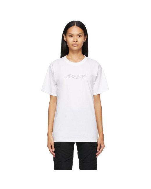 AWAKE NY ホワイト クラシック アウトライン Logo T シャツ White